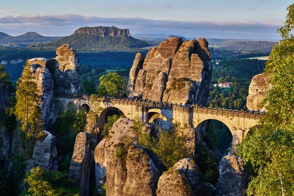 Basteibrücke im Morgenlicht (Blick vom Ferdinandstein)