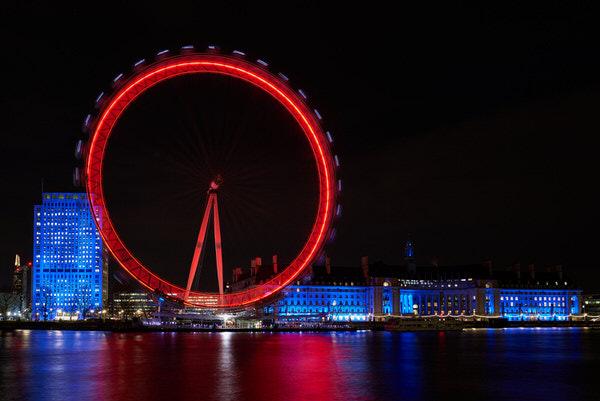 London Eye bei Nacht, Belichtungszeit: 20 s, ISO 50,